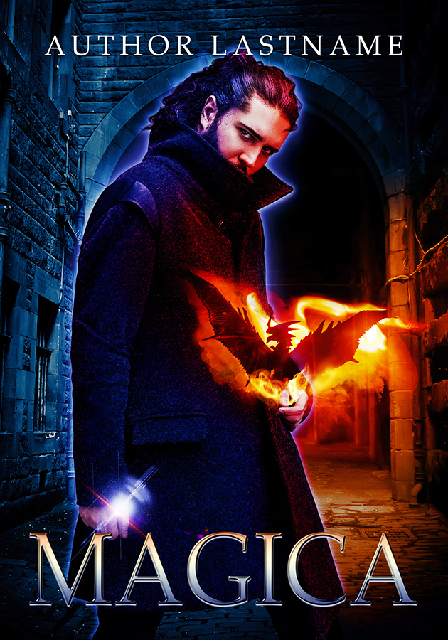 premade urban fantasy book cover. mysterious man holding a dragon.